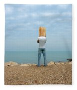 Man By The Sea With Bag On His Head Fleece Blanket