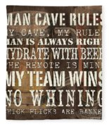 Man Cave Rules Square Fleece Blanket