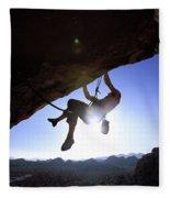 Man Climbing On An Overhang In Joshua Fleece Blanket