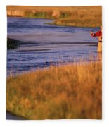 Man Fly Fishing On The Owens River Fleece Blanket