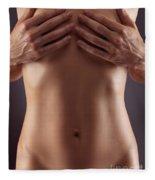 Man Hands Covering Nude Woman Breasts Fleece Blanket