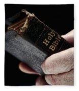 Man Hands Holding Old Bible Fleece Blanket