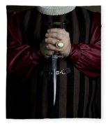 Man In Baroque Outfits Holding A Silver Dagger Fleece Blanket