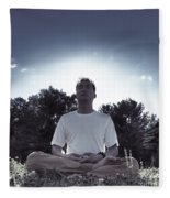 Man Meditating In The Nature During Sunrise Fleece Blanket