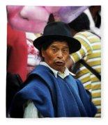 Man Of Cotacachi Ecuador Fleece Blanket