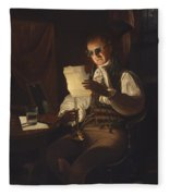 Man Reading By Candlelight Fleece Blanket