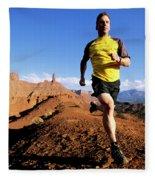 Man Running In Moab, Utah Fleece Blanket