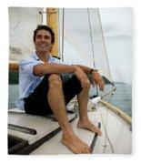 Man Smiling On Sailboat, Casco Bay Fleece Blanket