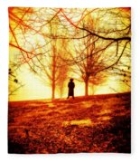 Man Standing In Front Of A Blazing Forest Fire Fleece Blanket