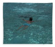 Man Swimming Fleece Blanket