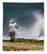 Man Versus The Sea Fleece Blanket