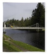 Man With Kayak Crossing Over Small Bridge From Ness Islands Fleece Blanket