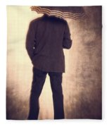 Man With Vintage Umbrella Fleece Blanket