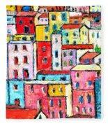 Manarola Colorful Houses Painting Detail Fleece Blanket