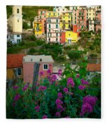 Manarola Flowers And Houses Fleece Blanket