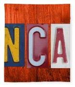 Mancave License Plate Letter Vintage Phrase Artwork On Burnt Orange Wood Fleece Blanket