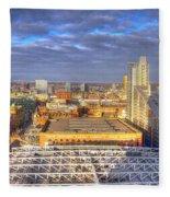 Manchester Skyline Panoramic Hdr Fleece Blanket
