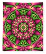 Mandala Green And Pink Fleece Blanket