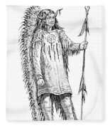 Mandan Indian Chief Fleece Blanket