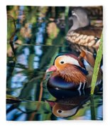 Mandarin Duck Reflections Fleece Blanket