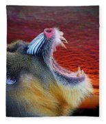 Mandrill Roaring At The End Of A Day  Fleece Blanket