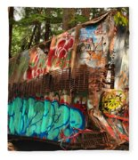 Mangled Whistler Train Wreck Box Car Fleece Blanket