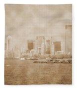 Manhattan And Liberty Island Vintage Fleece Blanket