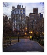 Manhattan At Dusk Fleece Blanket