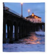 Manhattan Beach Pier Crashing Surf Fleece Blanket