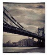 Manhattan Bridge In Ny Fleece Blanket