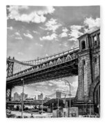 Manhattan Bridge - Pike And Cherry Streets Fleece Blanket
