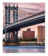 Manhattan Bridge Under A Purple Sunset Fleece Blanket