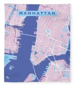Manhattan Map Graphic Fleece Blanket