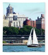 Manhattan - Sailboat Against Manhatten Skyline Fleece Blanket