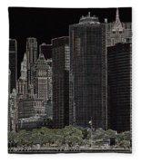Manhattan Skyline Abstract Fleece Blanket