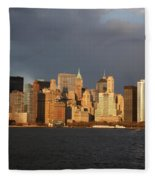 Manhattan Skyline At Sunset Fleece Blanket