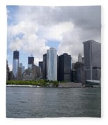 Manhattan Skyline From The Hudson River Fleece Blanket