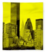 Manhattan Skyline In Yellow Fleece Blanket
