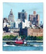 Manhattan - Tugboat Against Manhattan Skyline Fleece Blanket