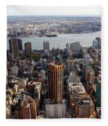 Manhattan View Towards Brooklyn Fleece Blanket