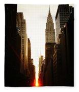 Manhattanhenge Sunset And The Chrysler Building  Fleece Blanket
