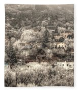 Manitou To The South In Snow Close Up Fleece Blanket