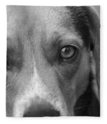 Man's Best Friend In Black And White Fleece Blanket