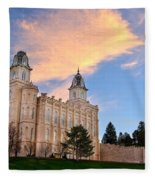 Manti Temple Morning Fleece Blanket
