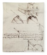 Manuscript B F 36 R Architectural Studies Development And Sections Of Buildings In City With Raise Fleece Blanket
