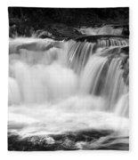Many Falls - Bw Fleece Blanket