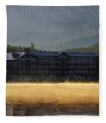 Many Glacier Hotel Sunrise Panorama Fleece Blanket