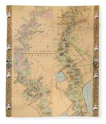 Map Depicting Plantations On The Mississippi River From Natchez To New Orleans Fleece Blanket