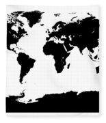 Map In Black And White Fleece Blanket