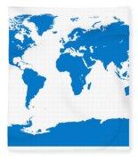 Map In Blue Fleece Blanket